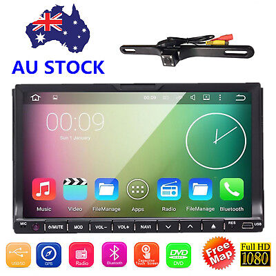 Car 7 Inch Screen GPS Card Double 2Din Bluetooth DVD Player Audio Player AU+Cam