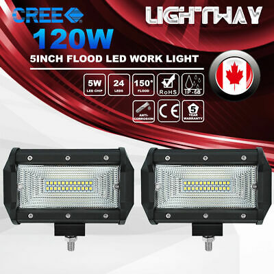 2X 5inch 120W CREE Flood Beam LED Work Light Bar Offroad 4X4 Work Driving Lamp