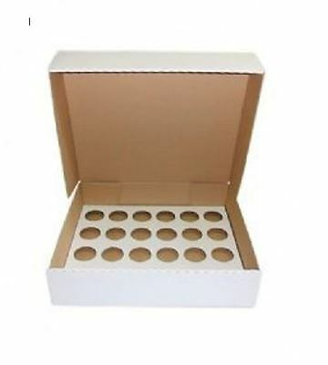 10 x Strong White Heavy Duty Cupcake Muffin Boxes For 24 Cup Cakes 4 INCHES DEEP