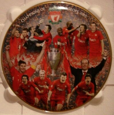 """Liverpool Fc Plate By Danbury Mint (Rob Perry) 8"""" Champions Of Europe 2005"""