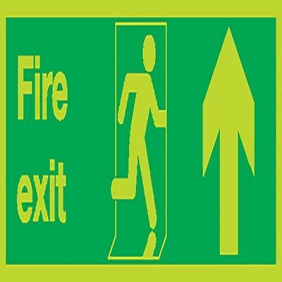Safety Sign Niteglo Fire Exit Running Man Arrow Up 150x450mm [SR71666]
