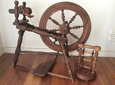 George H Young Spinning Wheel, with 3 Spool Rack & A Bag Of Merino Fleece