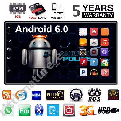 "7"" 2DIN Android 6.0 AutoRadio WIFI Auto Stereo Player GPS Bluetooth Touch Screen"