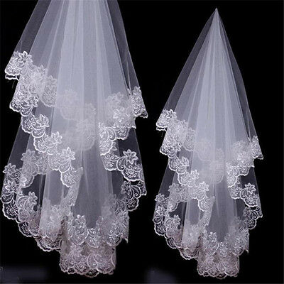 1T White or Ivory Elbow Length Lace Flower Edge Wedding Cathedral Bridal Veil