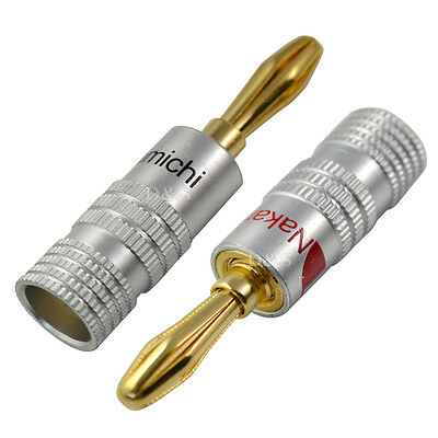 2PCS 24K GOLD-PLATED Speaker Wire Nakamichi Pin Connectors Banana ...