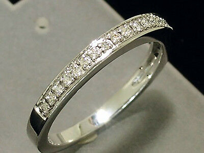 R199- Genuine 9ct SOLID WHITE Gold NATURAL Diamond WEDDING BAND Ring size L