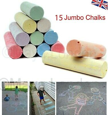 20 or 40 Jumbo Chalks in Bucket & Eraser Large ChalkColour Club Mixed Colours-UK