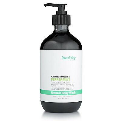 Natural Charcoal & Peppermint Body Wash Bath Body Shower All Skin Types 500ml