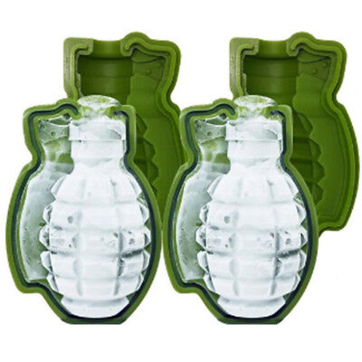 2PCS 3D Grenade Creative Ice Cube Maker Great Bar Party Trays Silicone Mold
