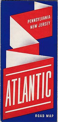 Excellent Old Vintage ATLANTIC White Flash Road Map - Pennsylvania & New Jersey