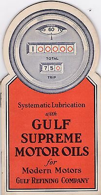 1920's 1930's Die Cut GULF Supreme Motor Oil Lubrication Pamphlet Small Map Size