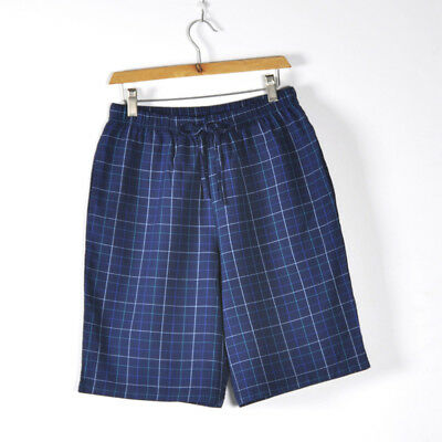 100% Cotton Plaid L-3XL Sleep Shorts Causal Men's Knit Pajamas