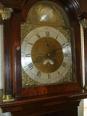 George111 Mahogany Arch Brass Dial 8 Day Longcase Clock (Courier)