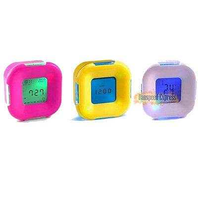 Multi-function Candy Colour Alarm Clock Thermometer Time Snooze Digital Display