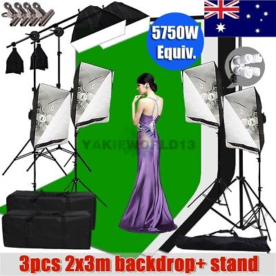 5750W Studio Softbox Continuous Lighting Boom Arm Light 2x3m Backdrop Stand Kit