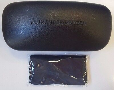Authentic  Alexander McQueen Sunglasses/Glasses Black Hard Case & Cleaning Cloth
