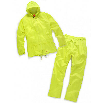 Scruffs Fully Waterproof Rainsuit Jacket & Over Trousers YELLOW Size XL