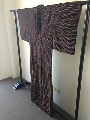 Vintage Black and Bronze spotted Silk Japanese Hand Made Kimono Robe Costume
