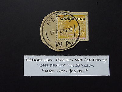 WESTERN AUSTRALIA  ONE PENNY ON 2d YELLOW SWAN CANCELLED 18/2/37  - USED
