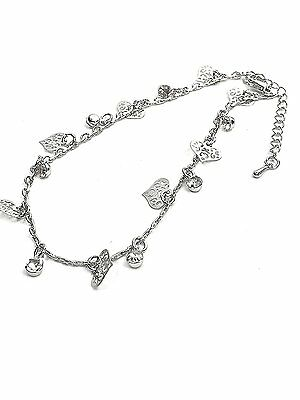 Anklet Silver Heart Tone Ankle Chain Womens Ladies Holiday Festivals Foot