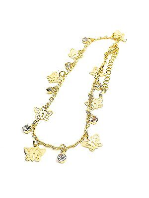 Anklet Gilt Gold Butterfly Tone Ankle Chain Womens Ladies Holiday Festivals