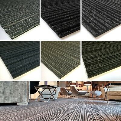Striped CARPET TILES Grey Blue Black Stripes Hard Wearing Office Shop School