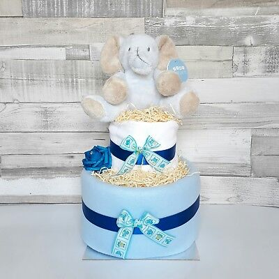 Two 2 Tier Nappy Cake with Cute Teddy baby shower gift