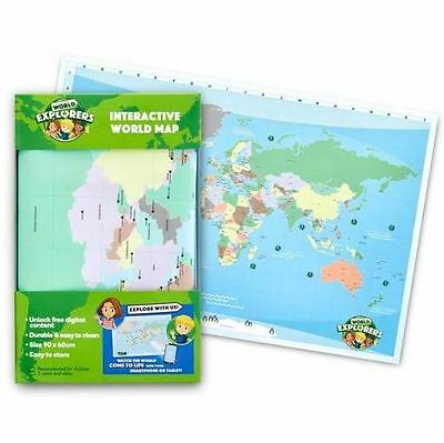 NEW World Explorers Interactive WORLD MAP 90 x 60cm Woolworths Woolies Gift Bday