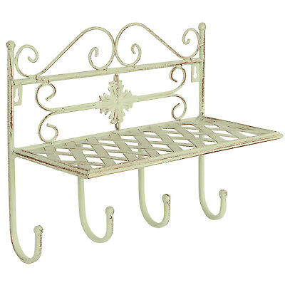 Hartleys Shabby Chic Wall Storage Shelf & 4 Hook Coat/towel Rack Hall/bathroom