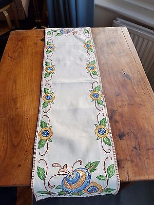 Beautiful embroidered linen table runner
