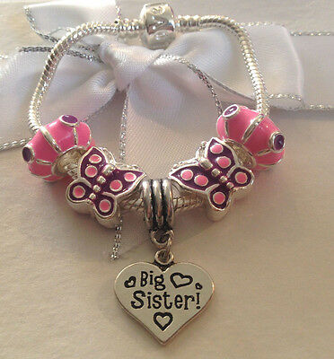 Personalised baby childrens girls pink purple butterfly charm bracelet gift box