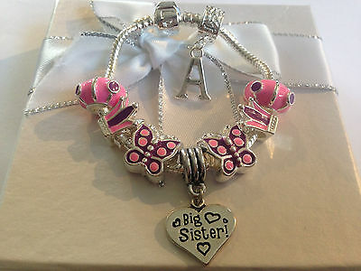 Personalised childrens girls pink purple butterfly crown charm bracelet gift box