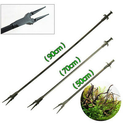Aquarium Fish Tank Black Plastic Tweezer Long Reach Lever Grip Plants Grass Clip