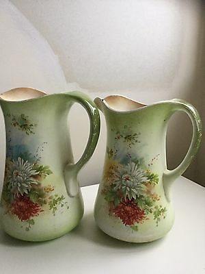 Stoke On Trent Staffordshire Jugs - Very Old - Shabby Chic