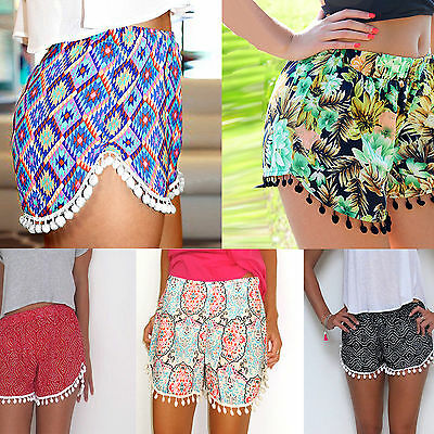 Women Ladies Sexy High Waist Casual Floral Beach Hot Pants Shorts UK Size 6-14