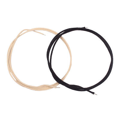 2pcs Copper Cotton Cloth Covered Sliver-plated PushBack Guitar Wire 39.37''