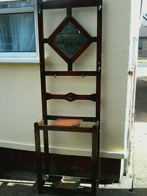 Hall stand oak with mirror, lightweight