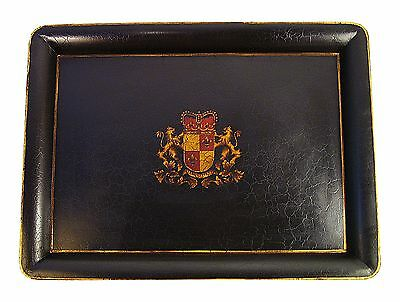 Large Rectangular Crest Tole Tray with stand.