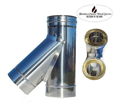 """T Insulated 135 degree stainless steel flue combustible heater stove 6"""" (150mm)"""