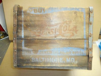 Tall Wooden Pepsi Cola Crate Wood Box Family Size Vintage Antique Original