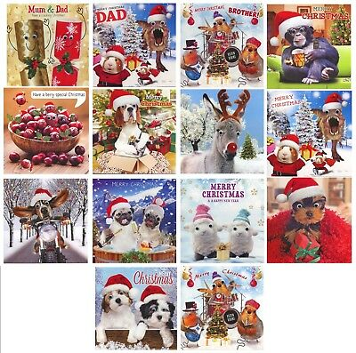 3D Gogglies Moving Eyes Merry Christmas Cards  Various Designs 1St P&p