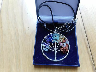 7 Chakra Healing Stones Tree Of Life Pendant Necklace Reiki Gift crystal
