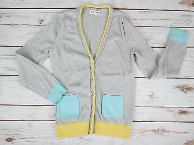 Tucker + Tate Girl 8 10 Cardigan Sweater Gray Turquoise Cotton Cashmere Blend