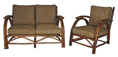 Old Hickory Sofa & Matching Club Chair w/ Cushions Rustic Adirondack Camp Cabin