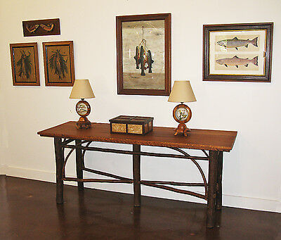 Old Hickory Console Sofa Table for Adirondack Rustic Camp Cottage Lodge