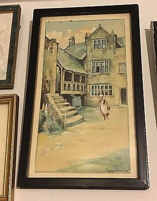 Original Vintage Watercolour Painting Old Miniature Picture Signed By The Artist