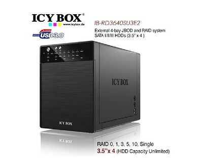 New ICY BOX IB-RD3640SU3E2 External 4-Bay JBOD System for 3.5 Inch SATA HDDs