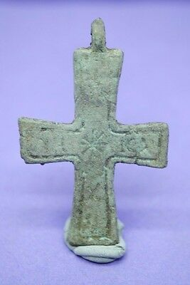 Medieval Byzantine bronze decorated cross pendant 12th century AD