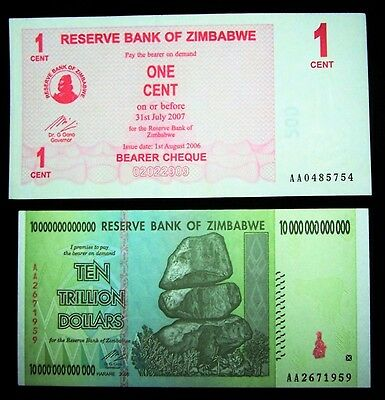 2 Zimbabwe banknotes-1 cent + 10 trillion Dollars-About unc currency
