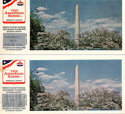 American Oil Co. Two Game Card Postcards Rub Off Washington Monument